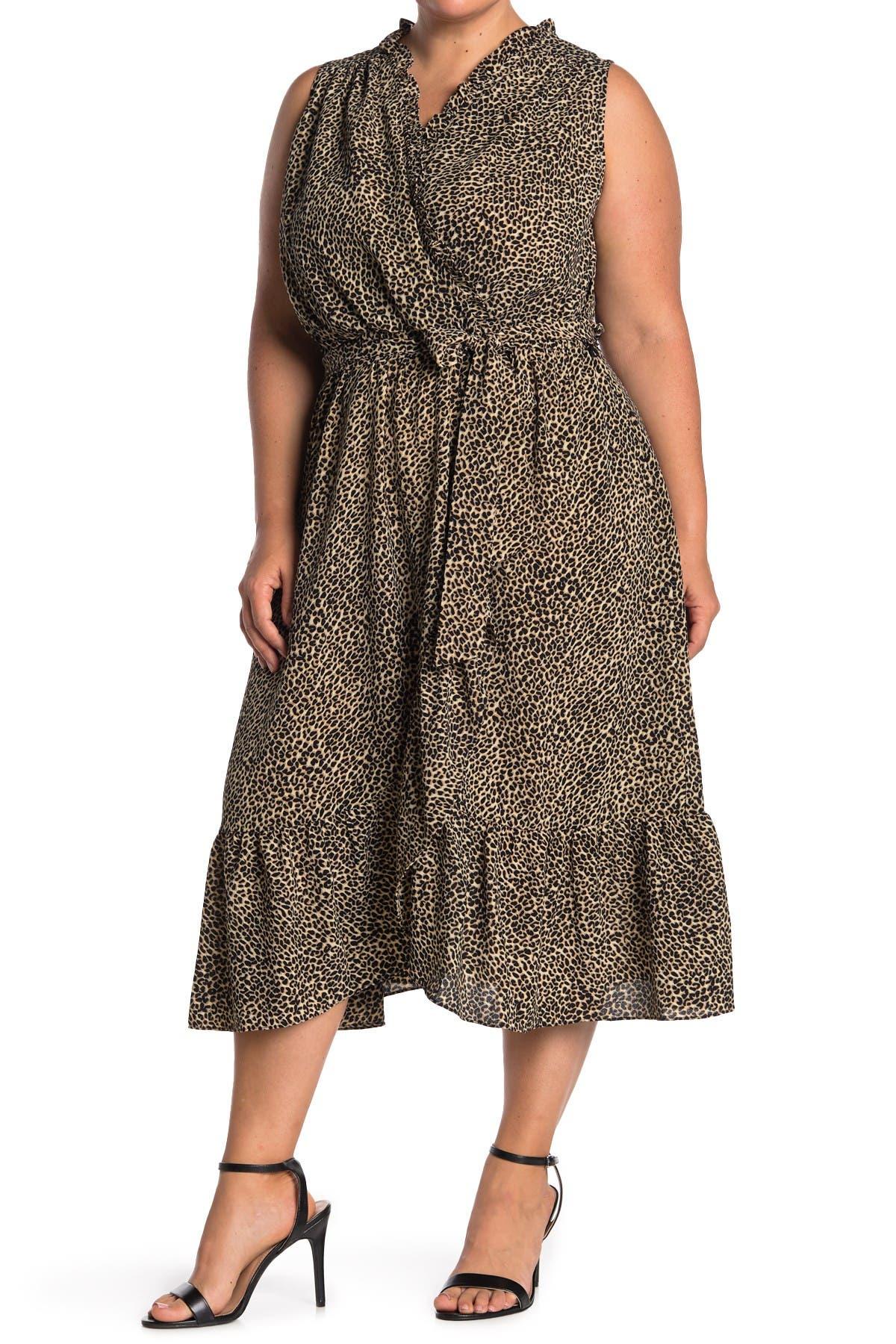 Image of London Times Leopard Print Ruffled Sleeveless Wrap Midi Dress