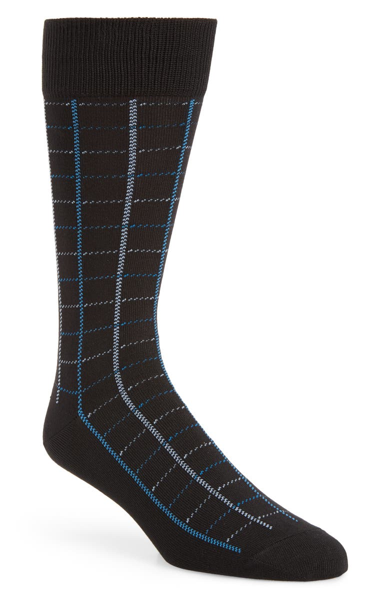 NORDSTROM MEN'S SHOP Ultra Soft Windowpane Socks, Main, color, BLACK/ BLUE