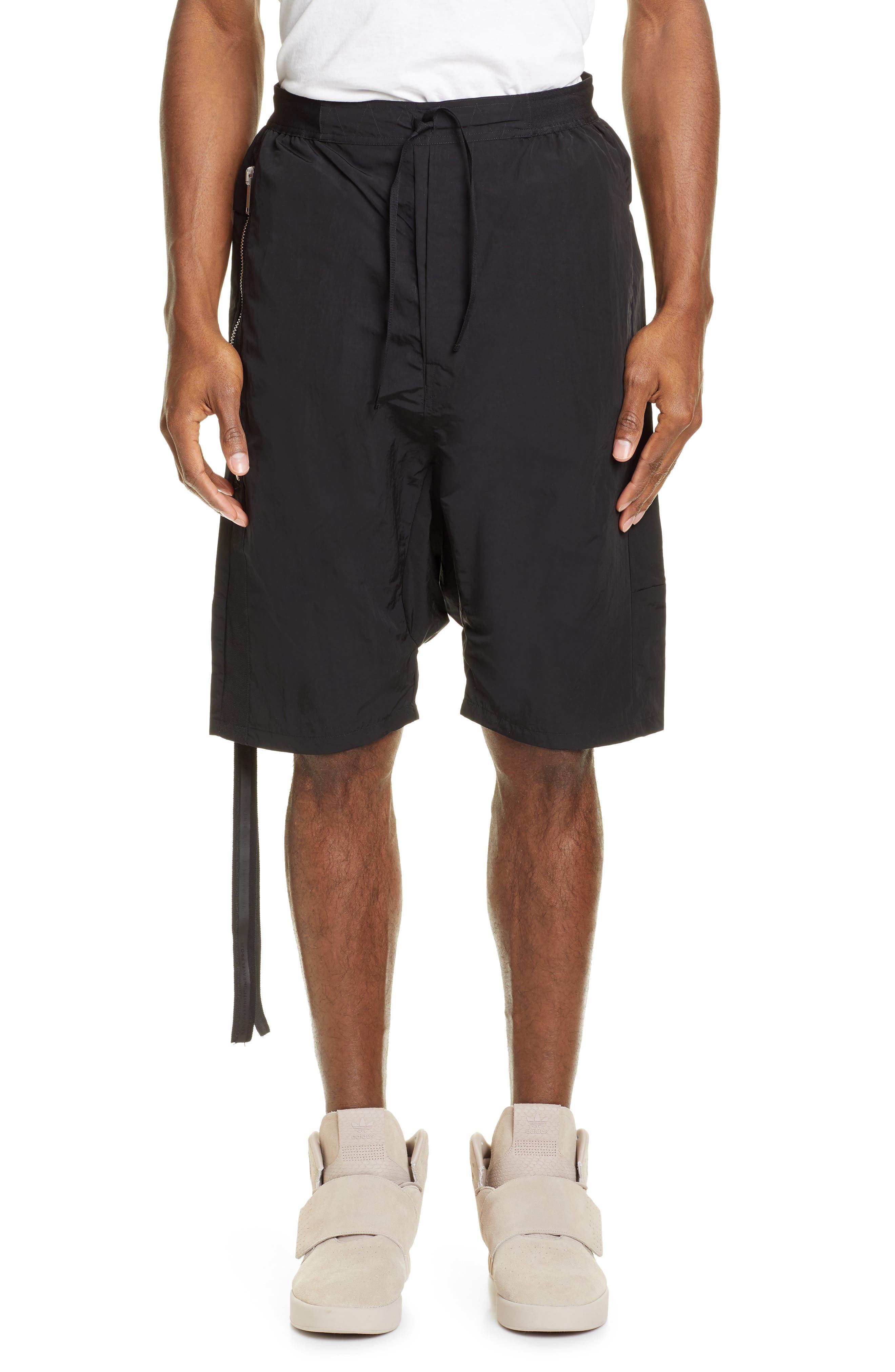 Unravel Project Zip Detail Drawstring Waist Cargo Shorts, Black