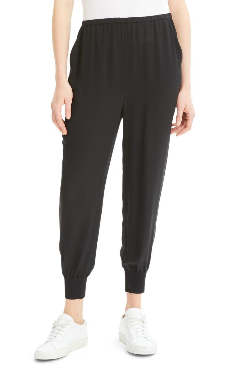 THEORY Silk Jogger Pants, Main, color, BLACK