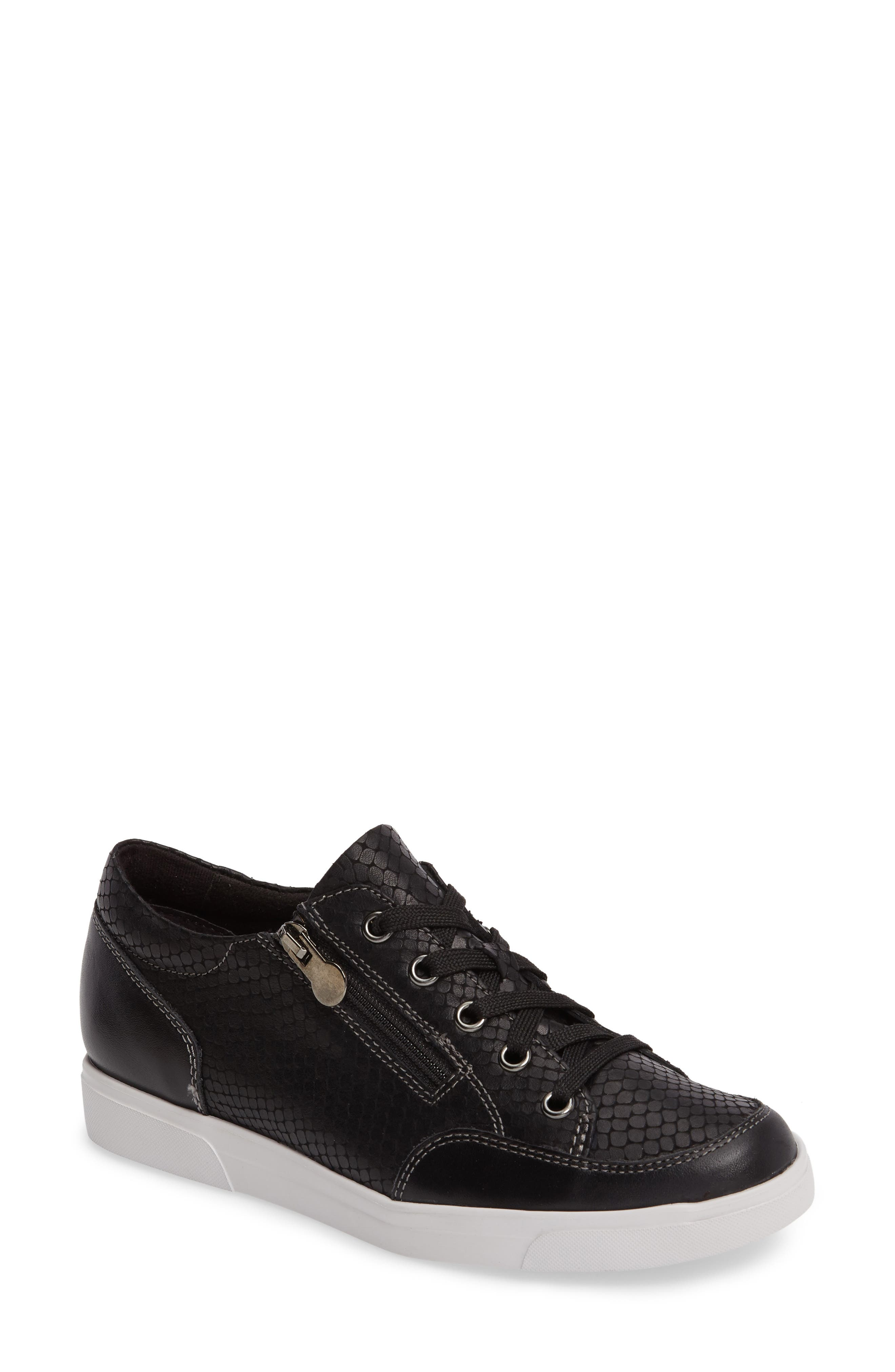 Snakeskin-embossed leather refines a sporty lace-up sneaker featuring a side zip detail, Munro\\\'s flexible, ExtraLite Ultralite sole and signature cushioning. Style Name: Munro Gabbie Sneaker (Women). Style Number: 5313224. Available in stores.