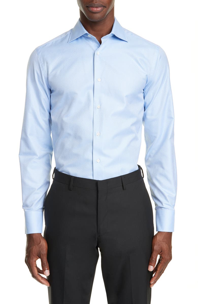 CANALI Trim Fit Geometric Dress Shirt, Main, color, BLUE