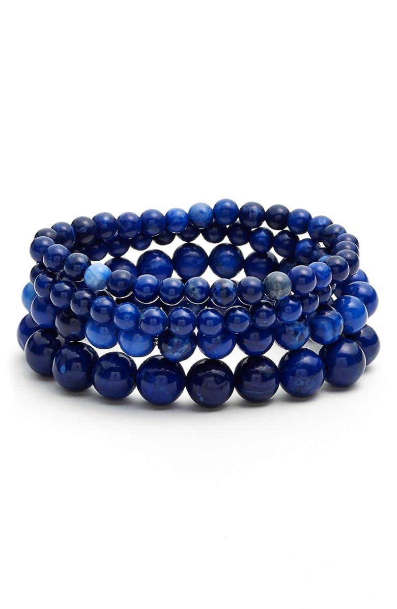 NORDSTROM Beaded Stretch Bracelets, Main, color, 400