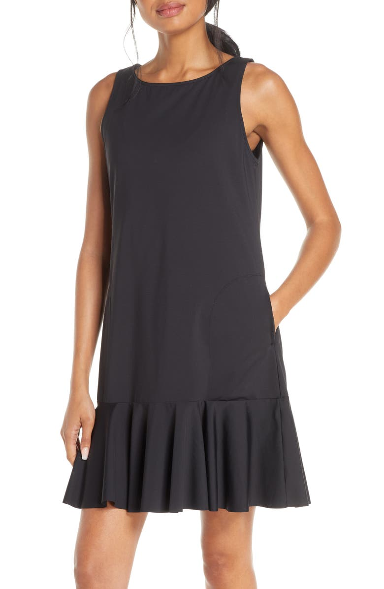 TOMMY BAHAMA Flounce Hem Tank Dress, Main, color, BLACK