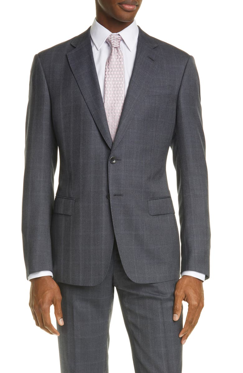 GIORGIO ARMANI Trim Fit Grey Windowpane Wool & Silk Suit, Main, color, CHARCOAL