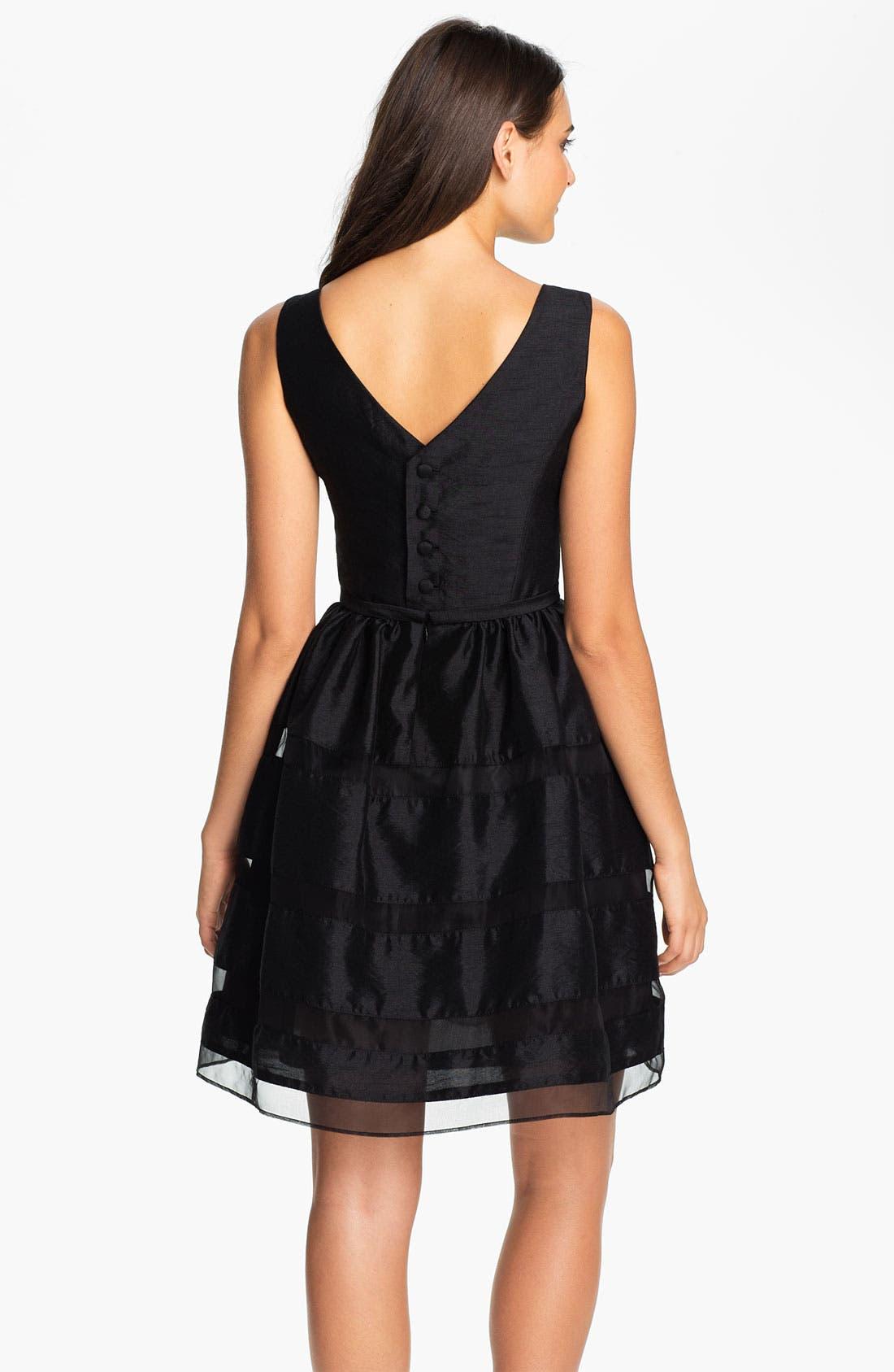 ,                             Tonal Stripe Fit & Flare Dress,                             Alternate thumbnail 3, color,                             001