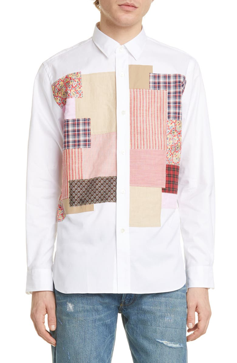 JUNYA WATANABE Patchwork Long Sleeve Button-Up Shirt, Main, color, 100