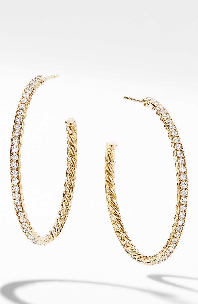 DAVID YURMAN Medium Hoop Earrings in 18K Yellow Gold with Pavé Diamonds, Main, color, 710