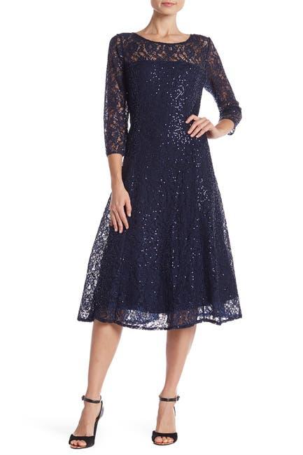Image of SLNY 3/4 Sleeve Tea Length Lace Dress