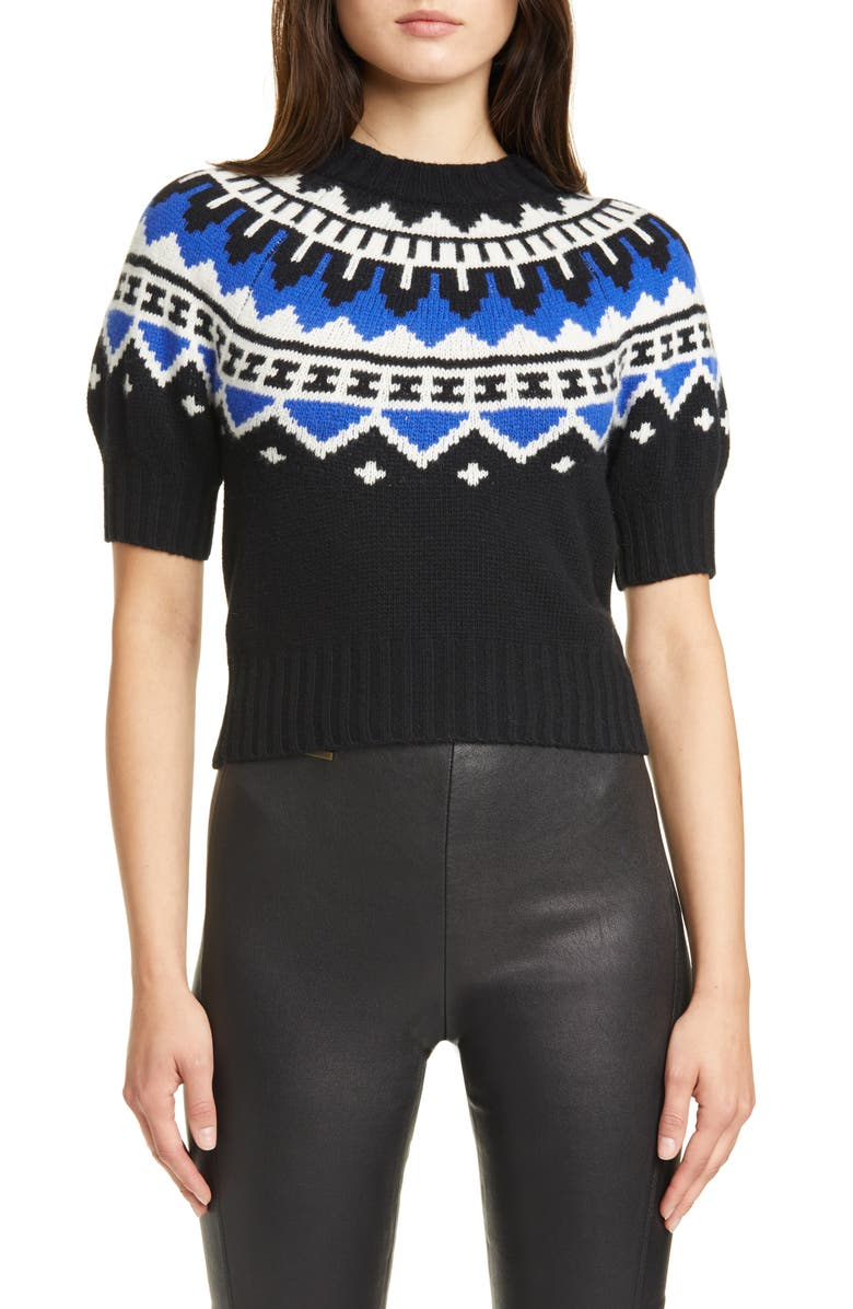 POLO RALPH LAUREN Puff Sleeve Wool & Cashmere Sweater, Main, color, BLACK/ ROYAL MULTI