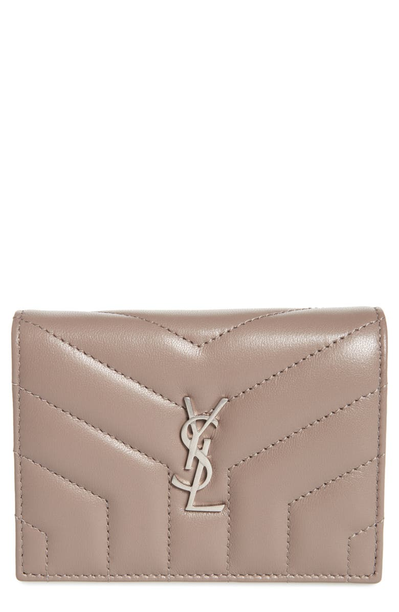 SAINT LAURENT Loulou Matelassé Lambskin Leather Flap Card Case, Main, color, MINK