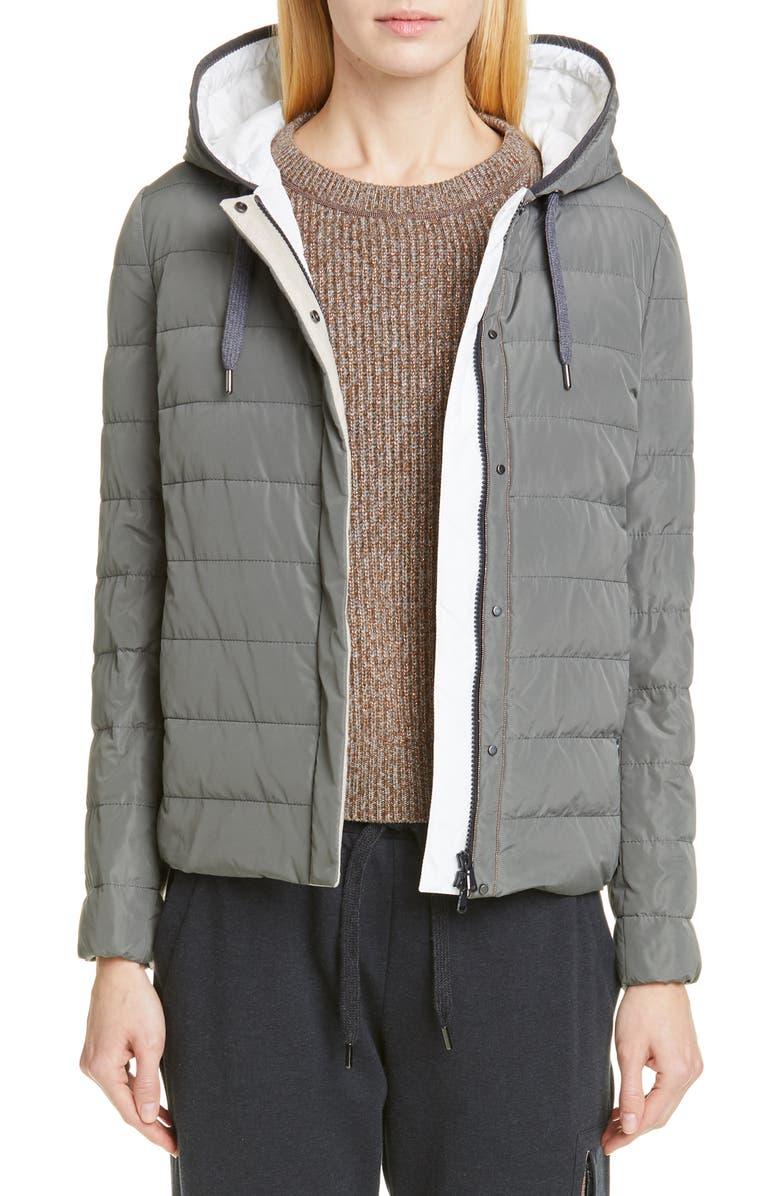 BRUNELLO CUCINELLI Down Fill Taffeta Puffer Jacket, Main, color, MILITARY