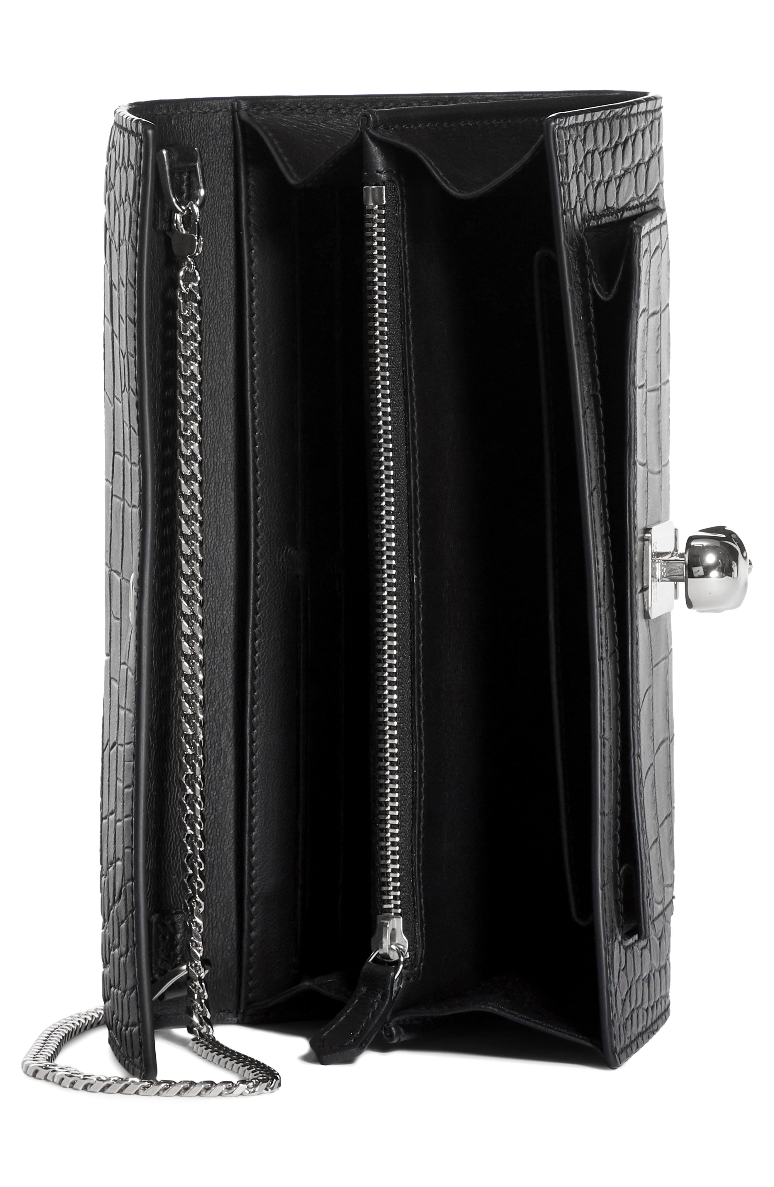 ,                             Skull Croc Embossed Leather Wallet on a Chain,                             Alternate thumbnail 3, color,                             001