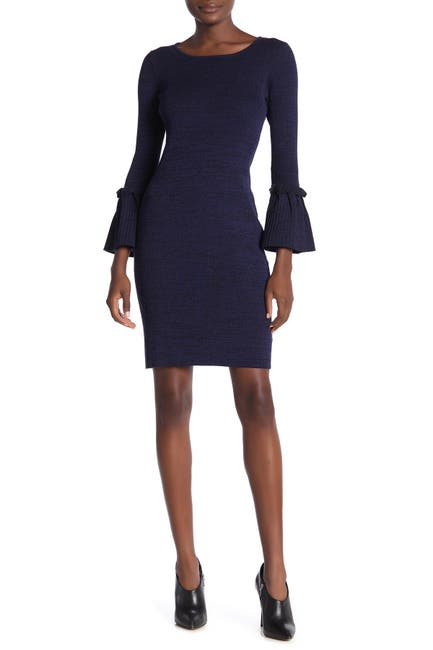 Image of Nina Leonard Ribbed Knit Bell Sleeve Sweater Dress