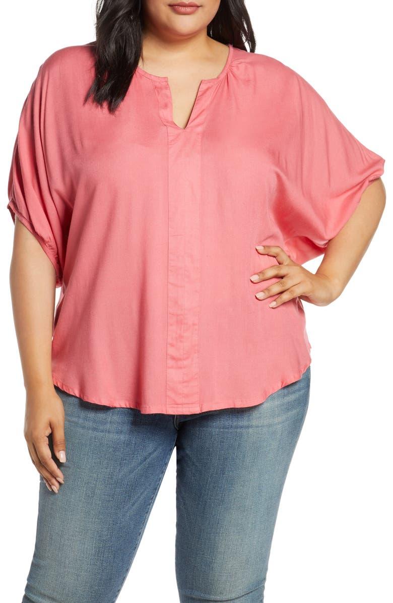 ESTELLE Spencer Split Neck Short Sleeve Blouse, Main, color, RASPBERRY