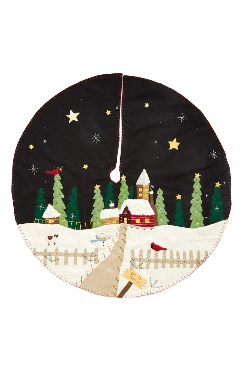 NEW WORLD ARTS Winter Village Christmas Tree Skirt, Main, color, BLACK