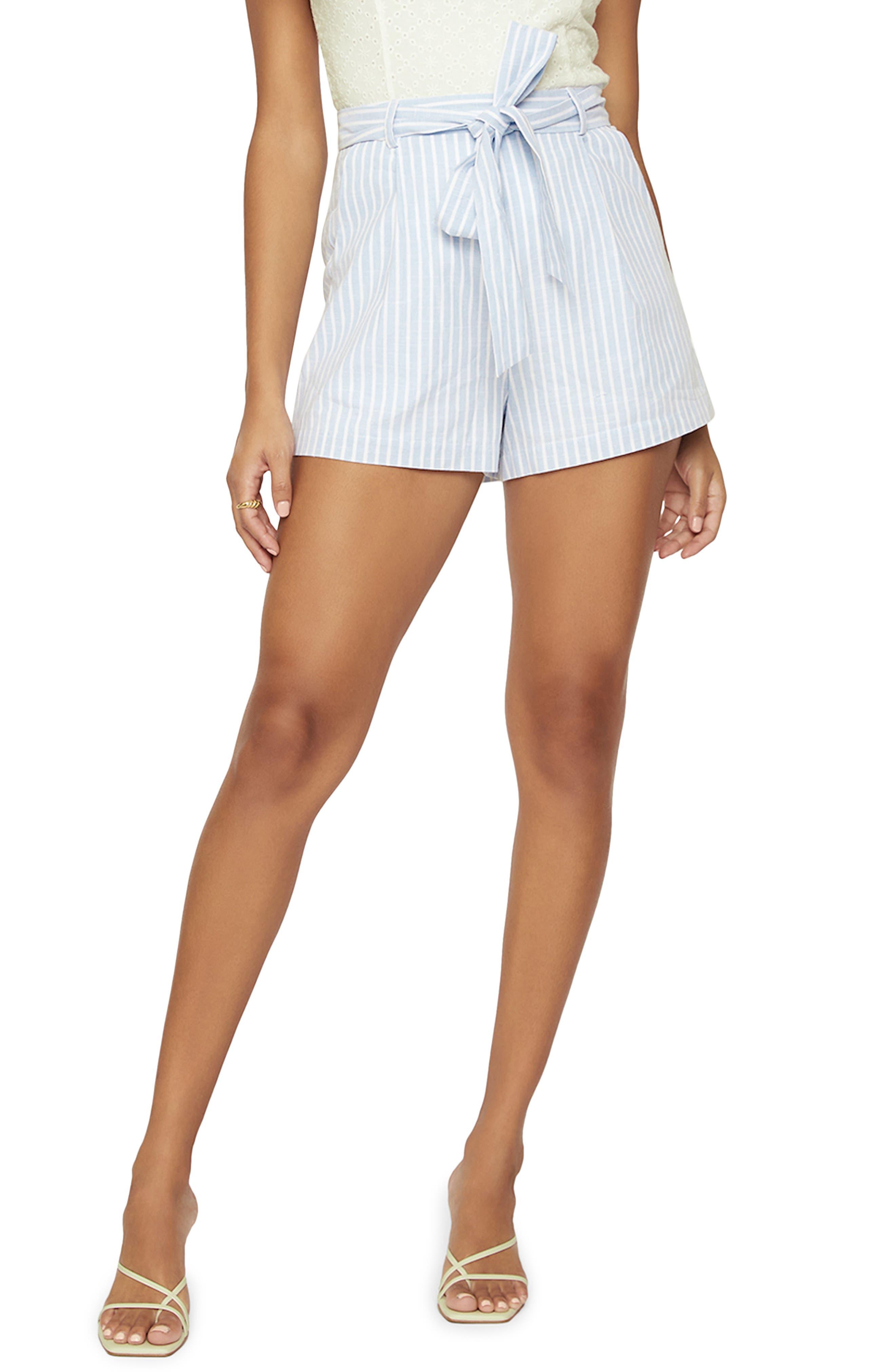 Women's Lost + Wander Sivan Stripe Belted Linen & Cotton Shorts