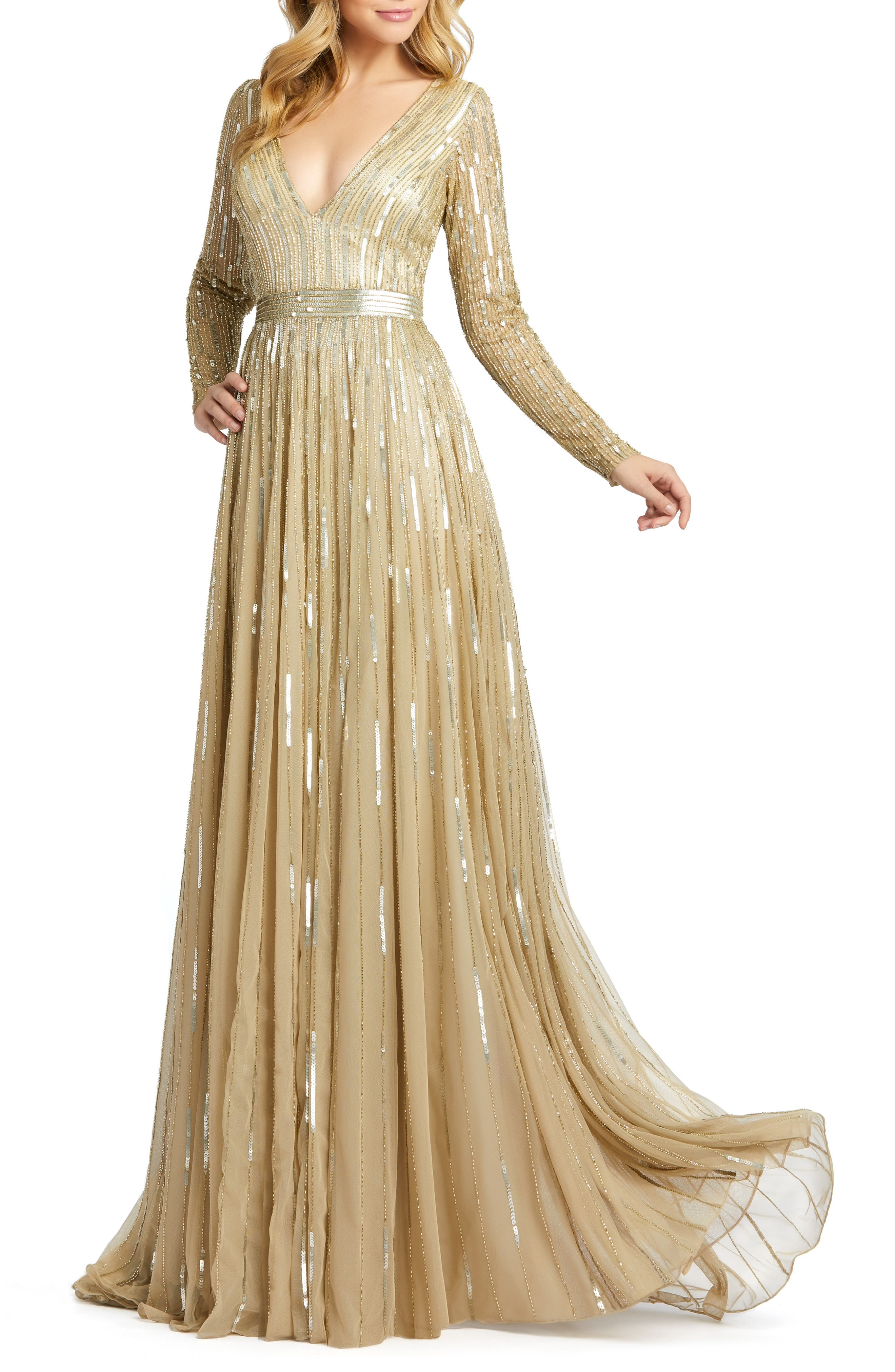 70s Prom, Formal, Evening, Party Dresses Womens MAC Duggal Long Sleeve Sequin  Bead Stripe Gown $598.00 AT vintagedancer.com
