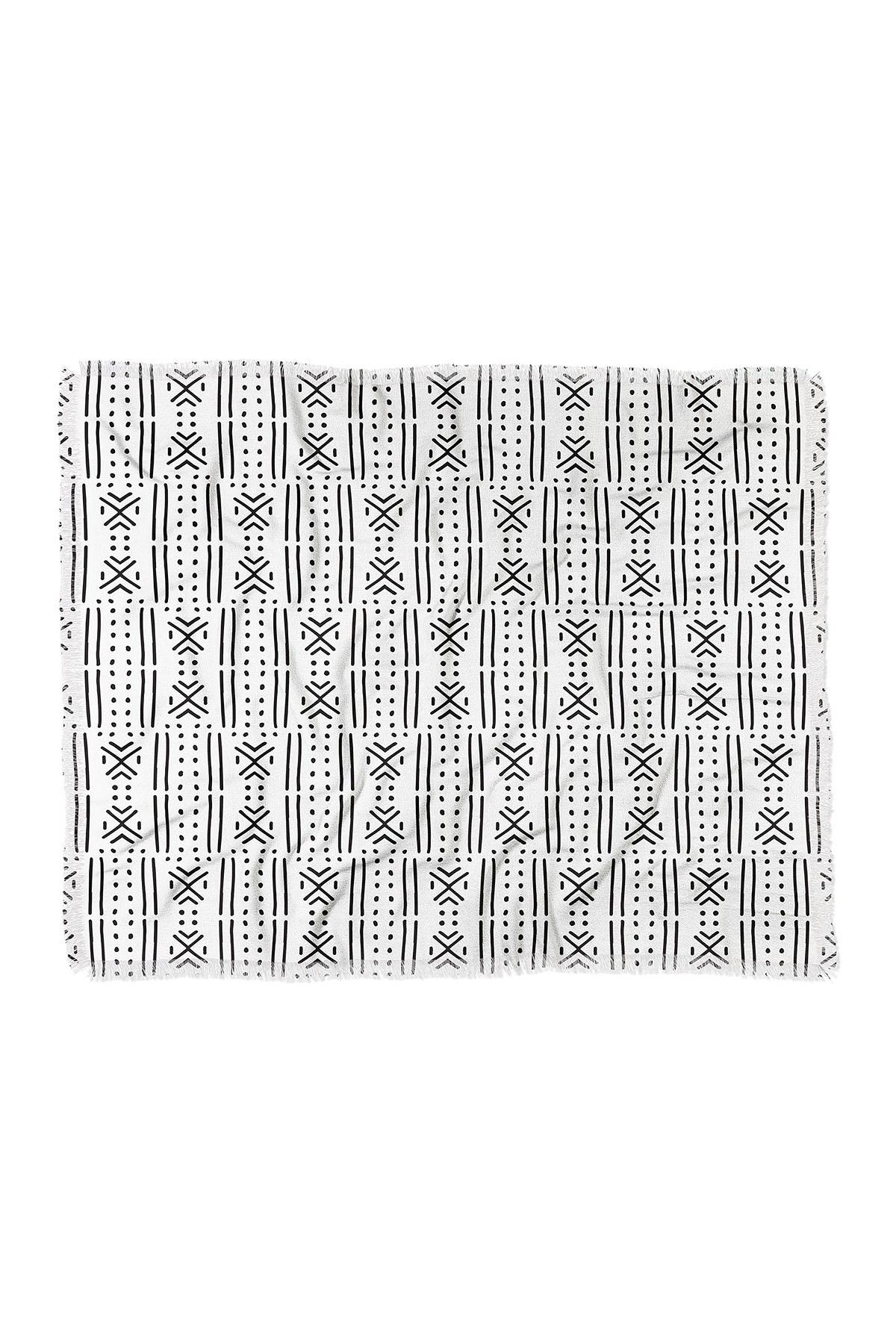 Image of Deny Designs Holli Zollinger Mudcloth White Woven Throw Blanket