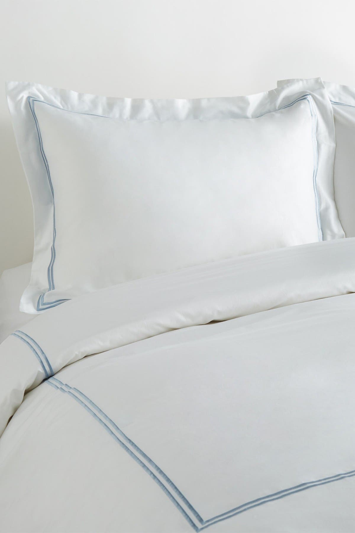 Image of Melange Home King 600 Thread Count Cotton 2 Stripe Embroidered Duvet Set