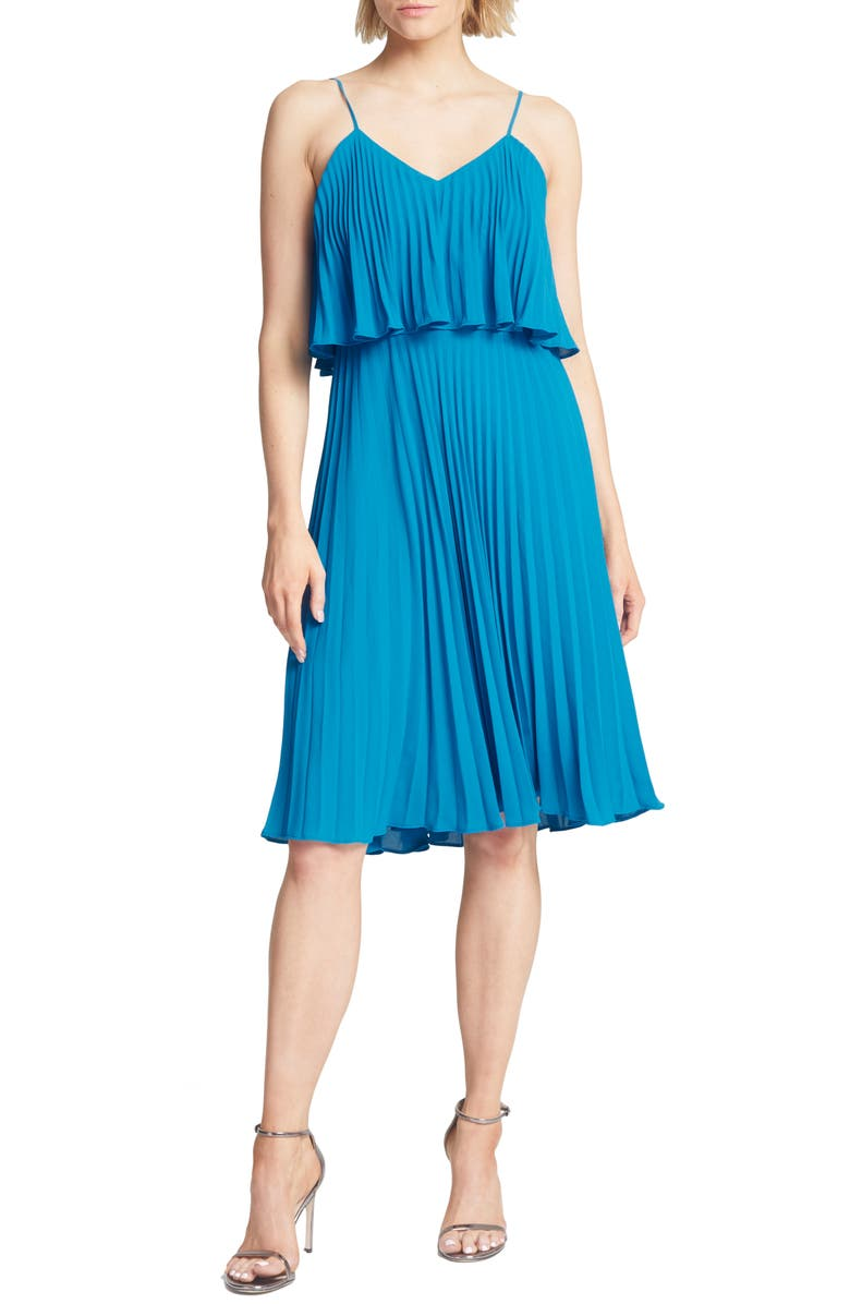 HALSTON HERITAGE Pleated Flounce Popover Dress, Main, color, AQUA