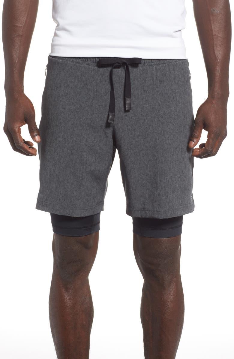 ALO Unity 2-in-1 Shorts, Main, color, DARK GREY MARL/ BLACK