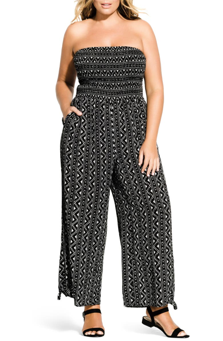 CITY CHIC Print Strapless Jumpsuit, Main, color, BLACK/ WHITE PRINT