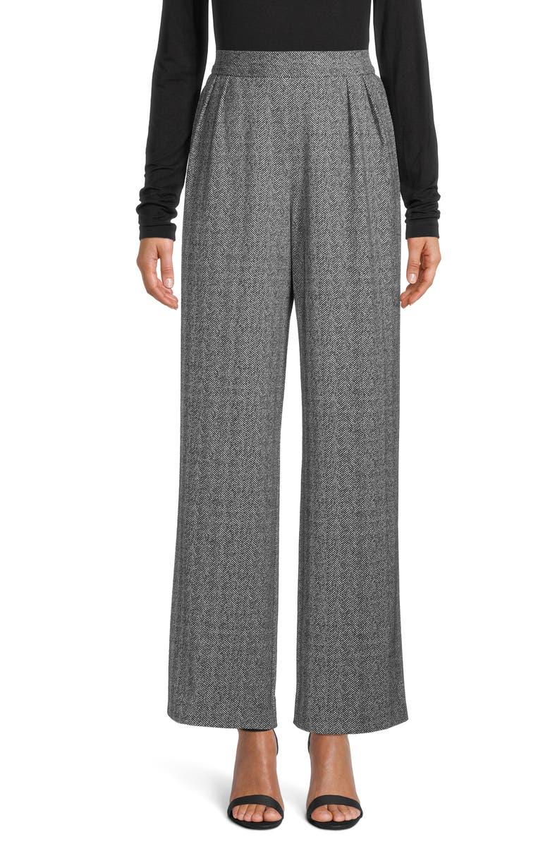 ANNE KLEIN Herringbone Wide Leg Trousers, Main, color, ANNE BLACK/ ANNE WHITE