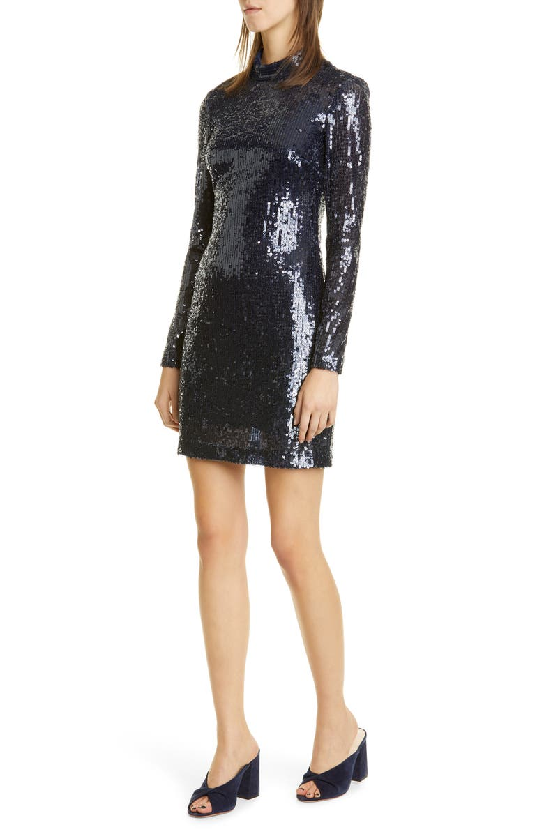 STAUD Liza Sequin Long Sleeve Minidress, Main, color, NAVY SEQUIN