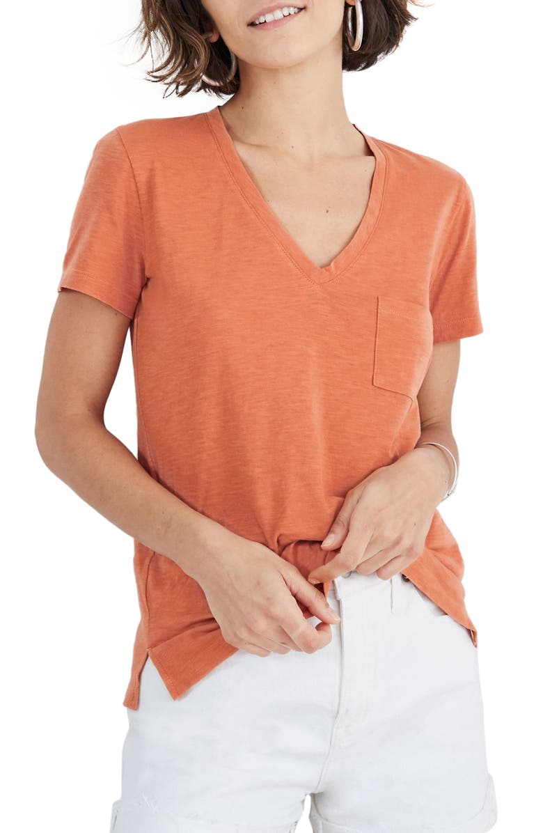 MADEWELL Whisper Cotton V-Neck Pocket Tee, Main, color, SWEET DAHLIA