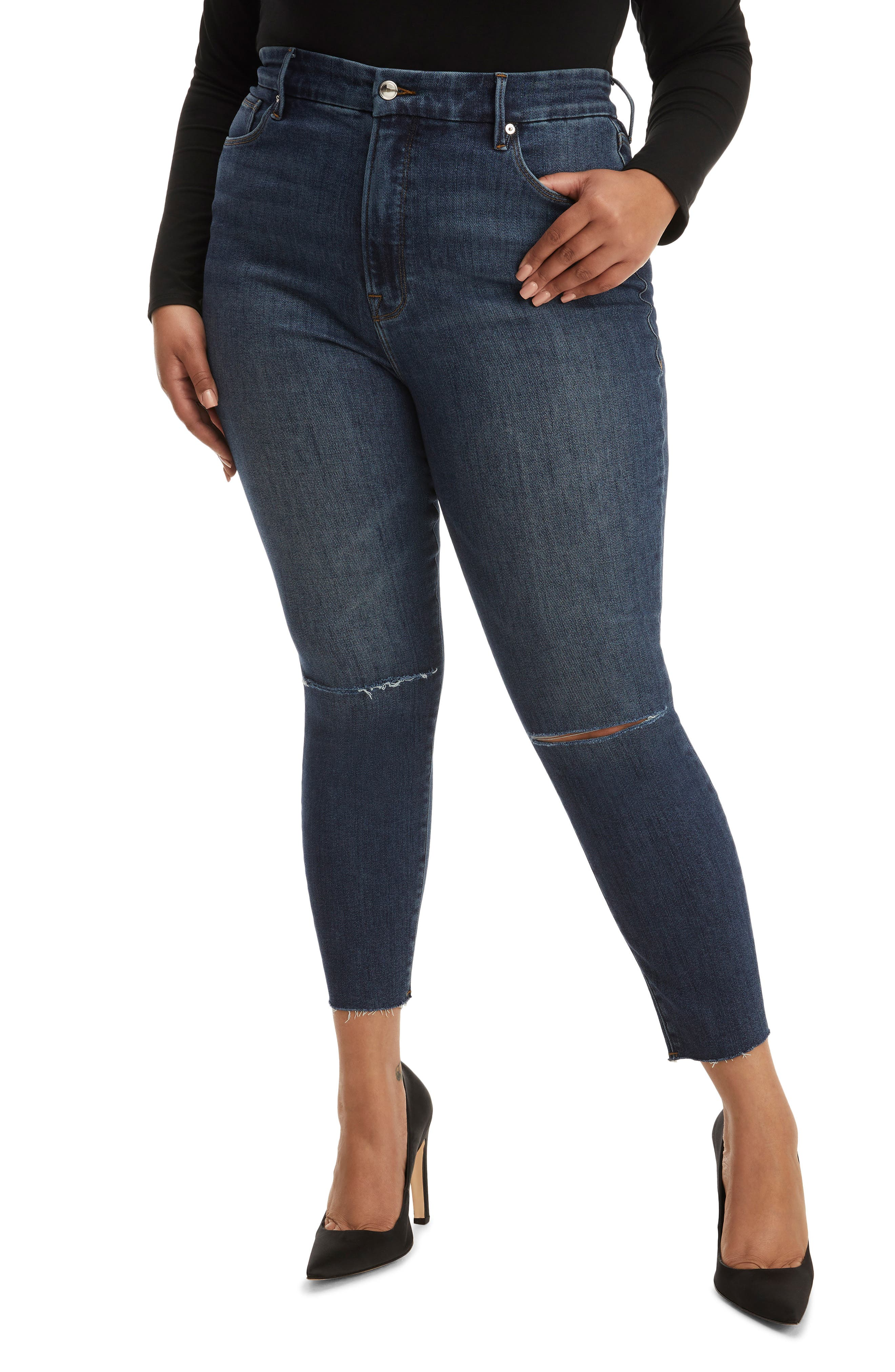 Women's Good American Good Waist High Waist Ripped Raw Edge Crop Skinny Jeans