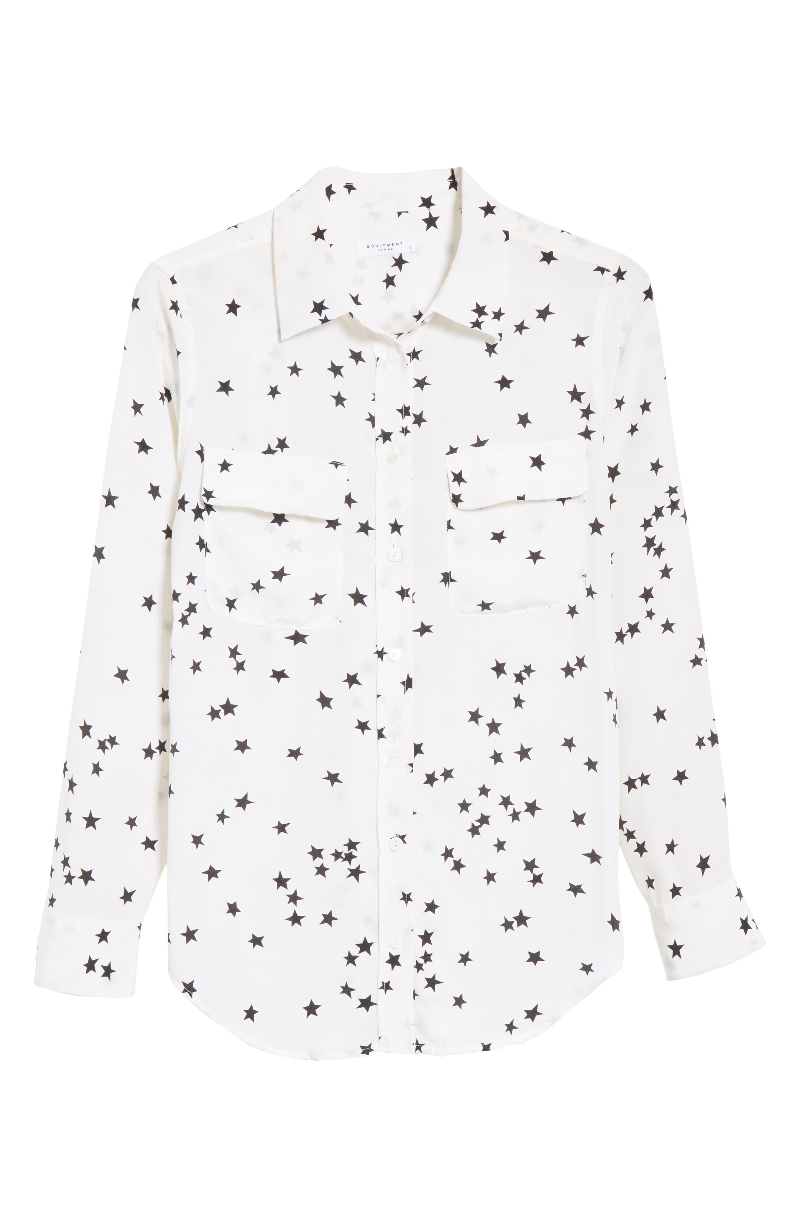 ,                             'Starry Night' Silk Shirt,                             Alternate thumbnail 6, color,                             BRIGHT WHITE/ BLACK