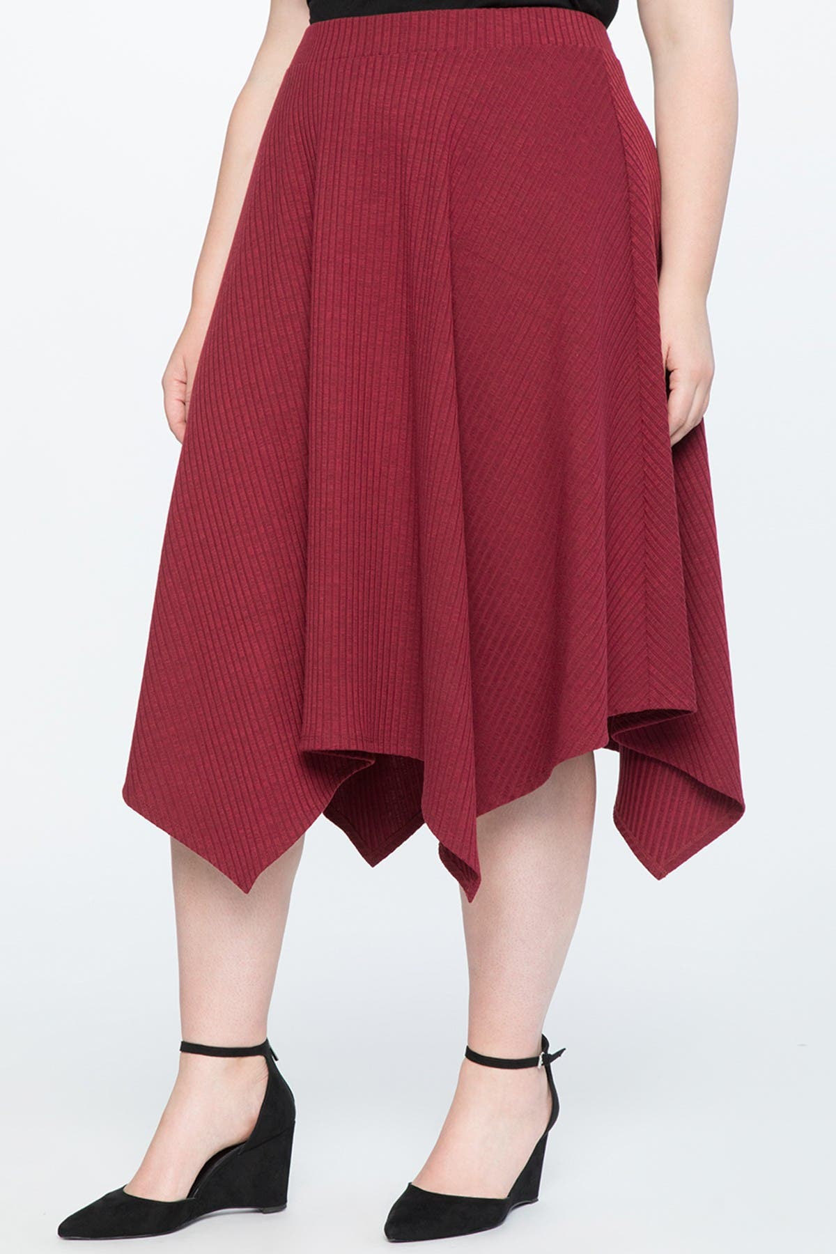 Image of ELOQUII Handkerchief Hem Ribbed Knit Midi Skirt
