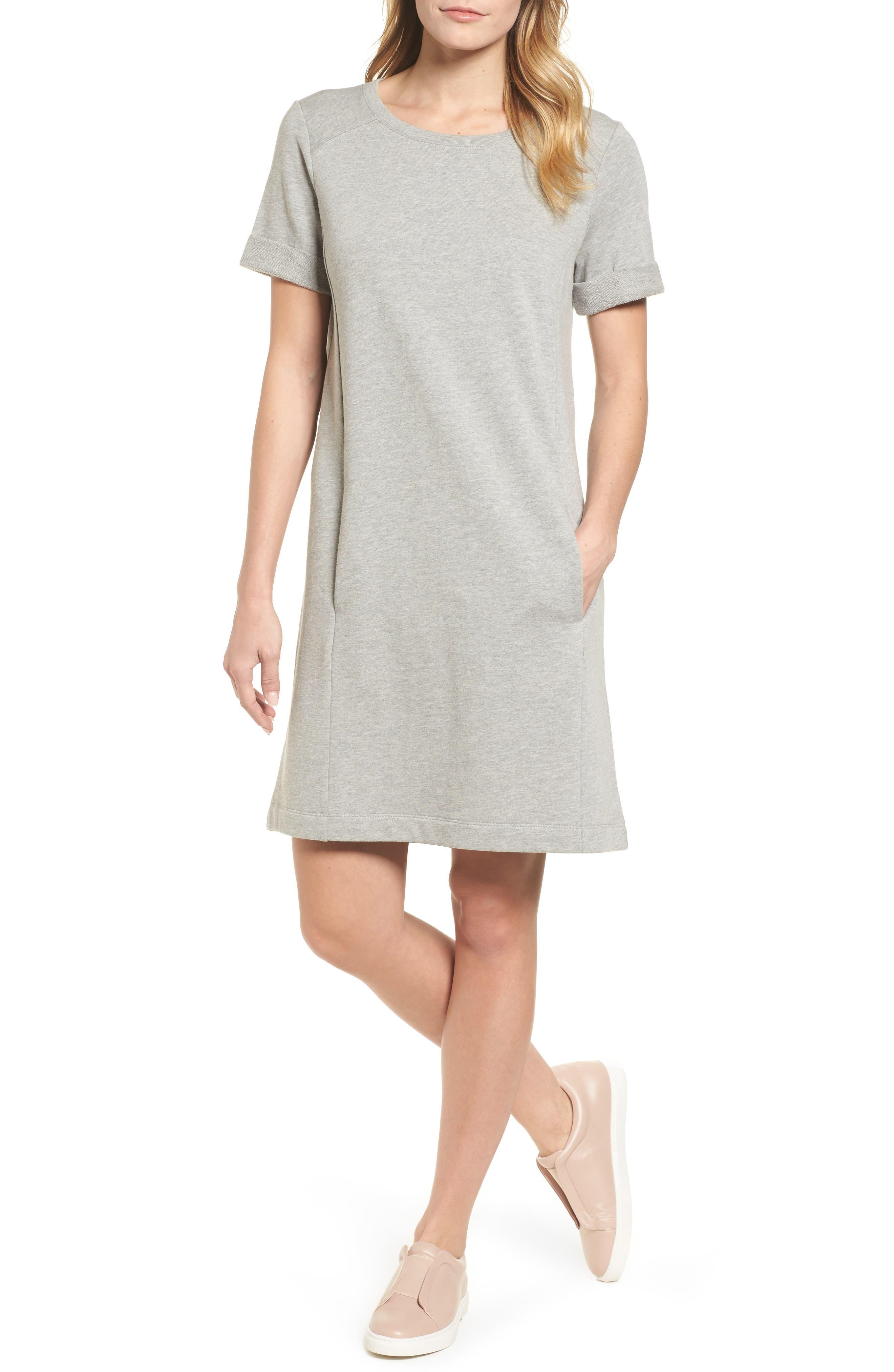 Petite Caslon Short Sleeve Cotton Blend Dress, Grey