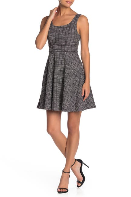 Image of MAX & ASH Plaid Tweed Skater Dress