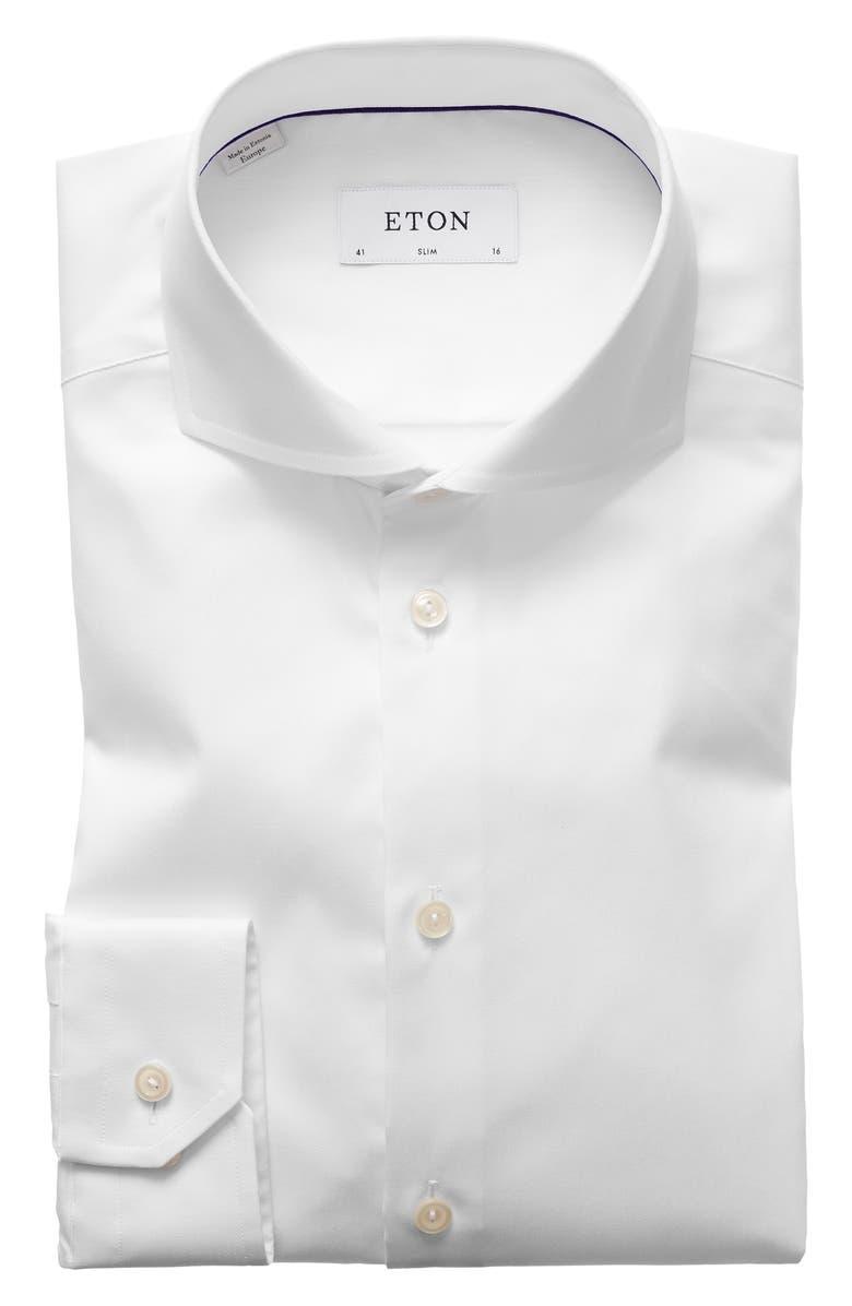 ETON Slim Fit Solid Dress Shirt, Main, color, WHITE