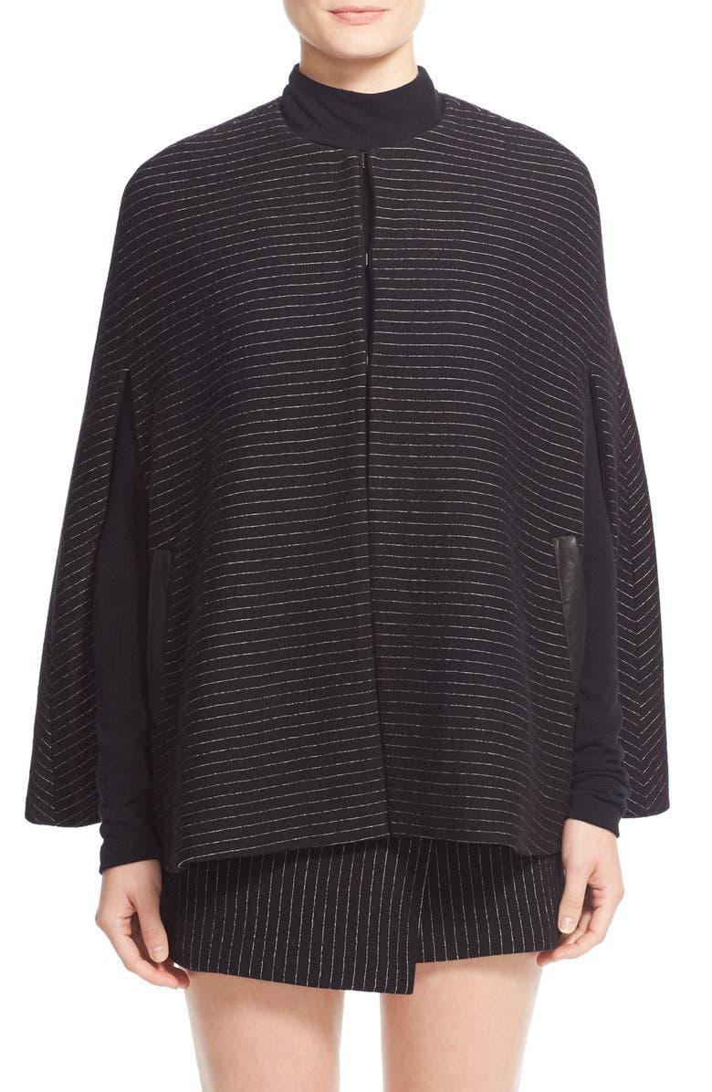 ALICE + OLIVIA 'Kingsley' Pinstripe Wool Cape Coat, Main, color, 009