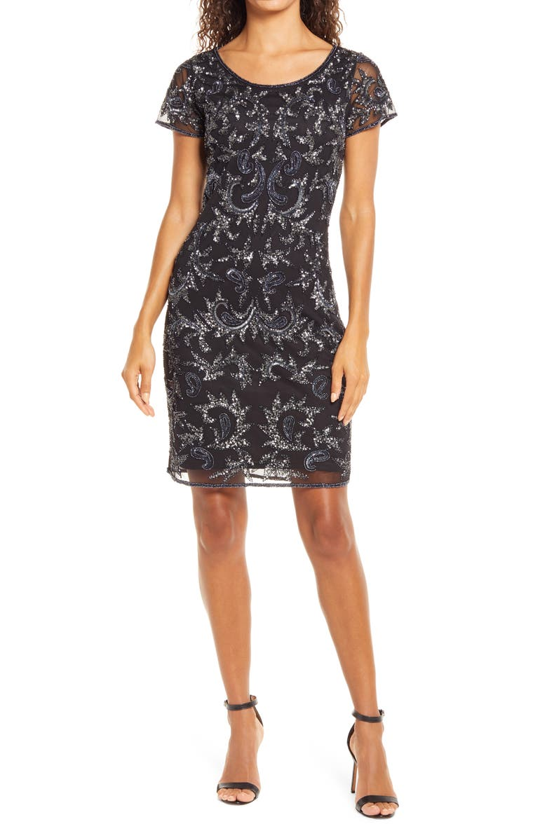 PISARRO NIGHTS Beaded Mesh Cocktail Dress, Main, color, BLACK/GUN