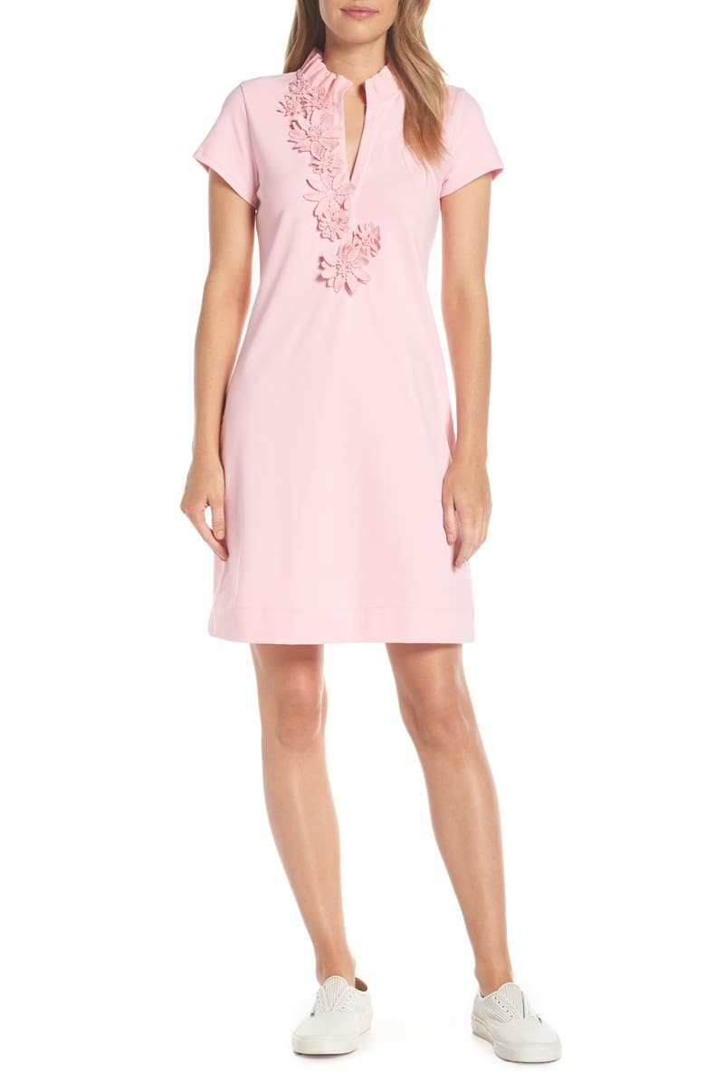 LILLY PULITZER<SUP>®</SUP> Clary Piqué Polo Dress, Main, color, CORAL REEF TINT