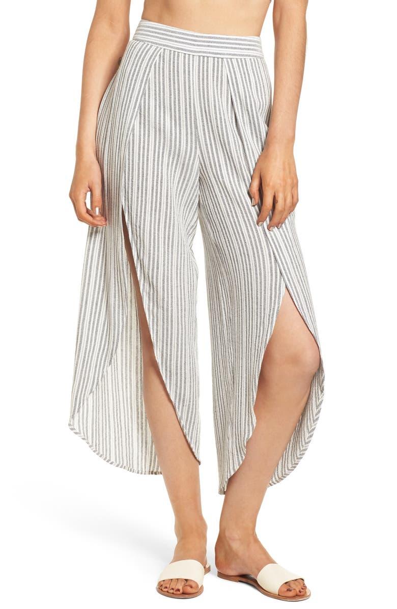 LOST + WANDER Kika Stripe Split Culottes, Main, color, 061