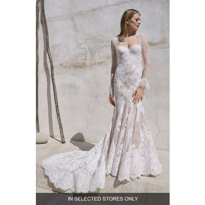 Watters Crane Long Sleeve Lace Trumpet Wedding Dress, Size IN STORE ONLY - Ivory