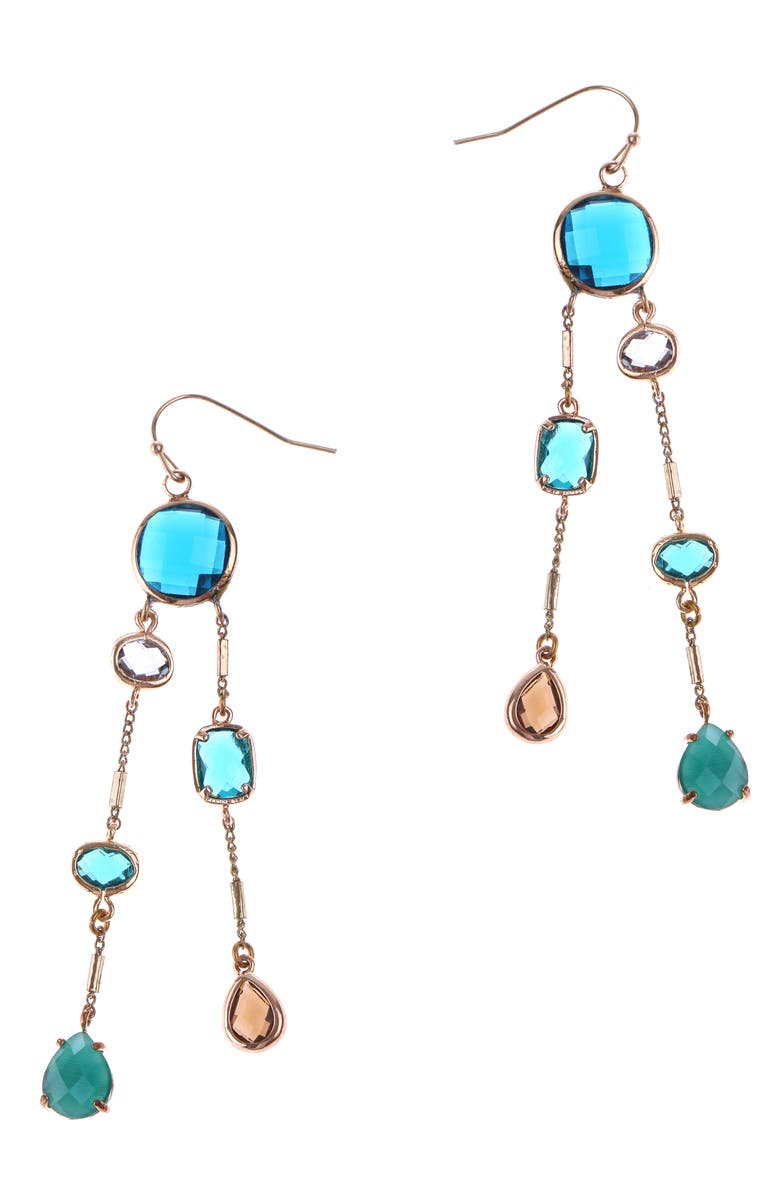 NAKAMOL CHICAGO Double Linear Drop Earrings, Main, color, BLUE MIX