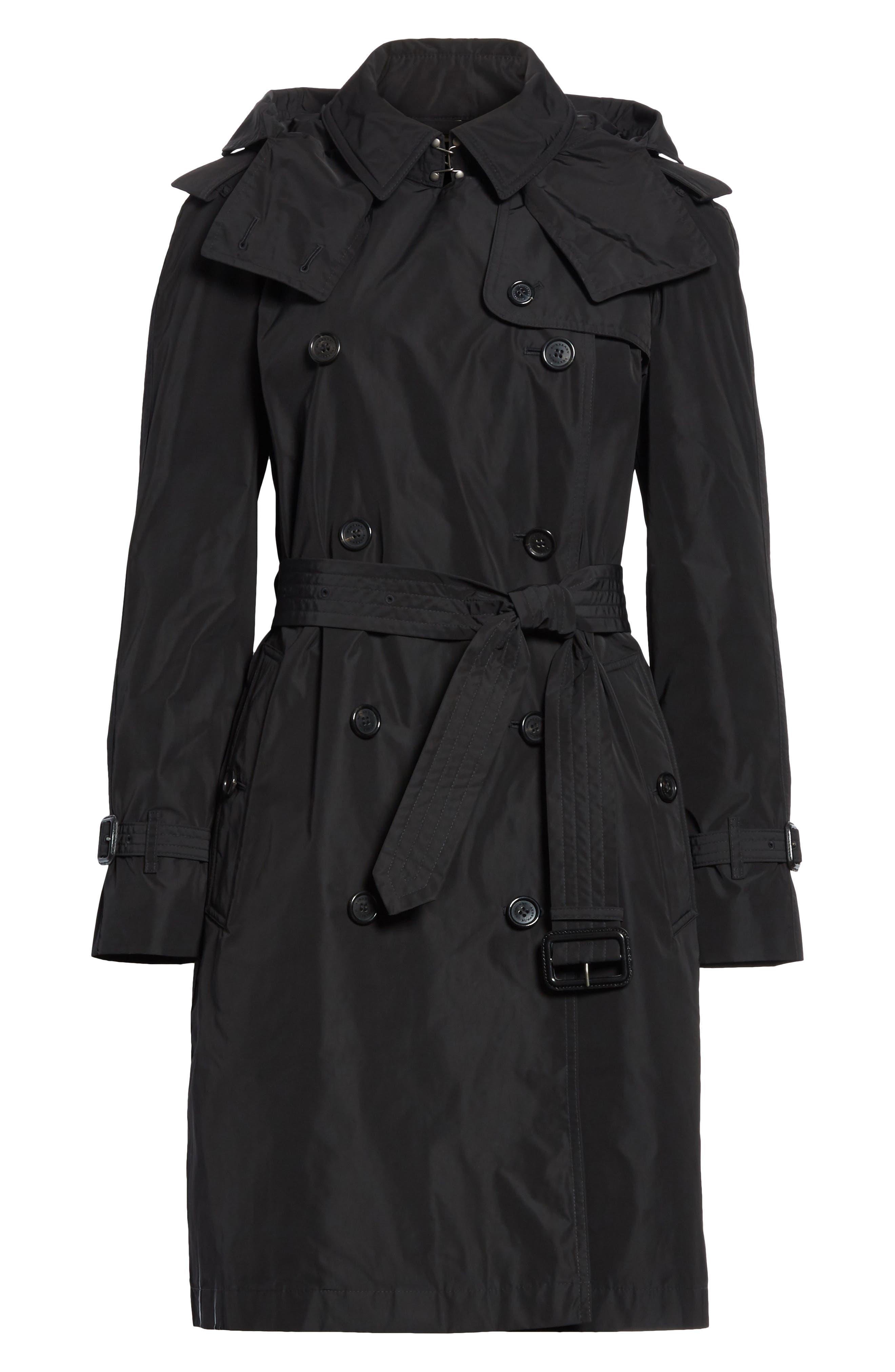 ,                             Amberford Taffeta Trench Coat with Detachable Hood,                             Alternate thumbnail 6, color,                             BLACK