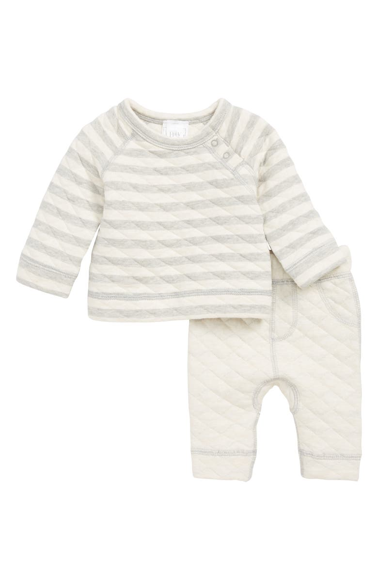 NORDSTROM Baby Quilted Top & Pants Set, Main, color, GREY ASH HEATHER- IVORY STRIPE