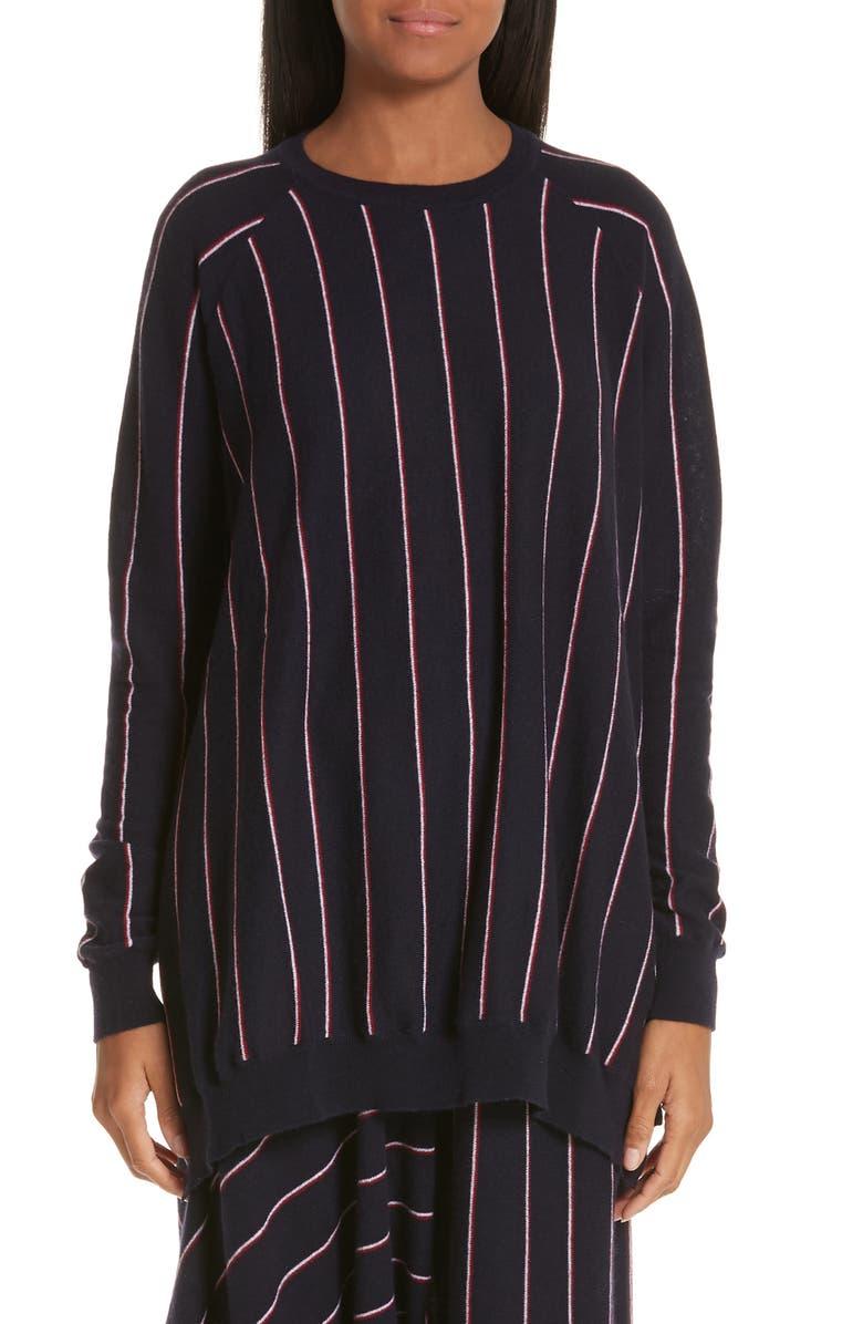 STELLA MCCARTNEY Stripe Asymmetrical Sweater, Main, color, 400