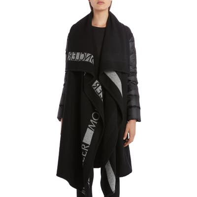 Moncler Mantella Down Puffer Sleeve & Wool Cape Coat, Black