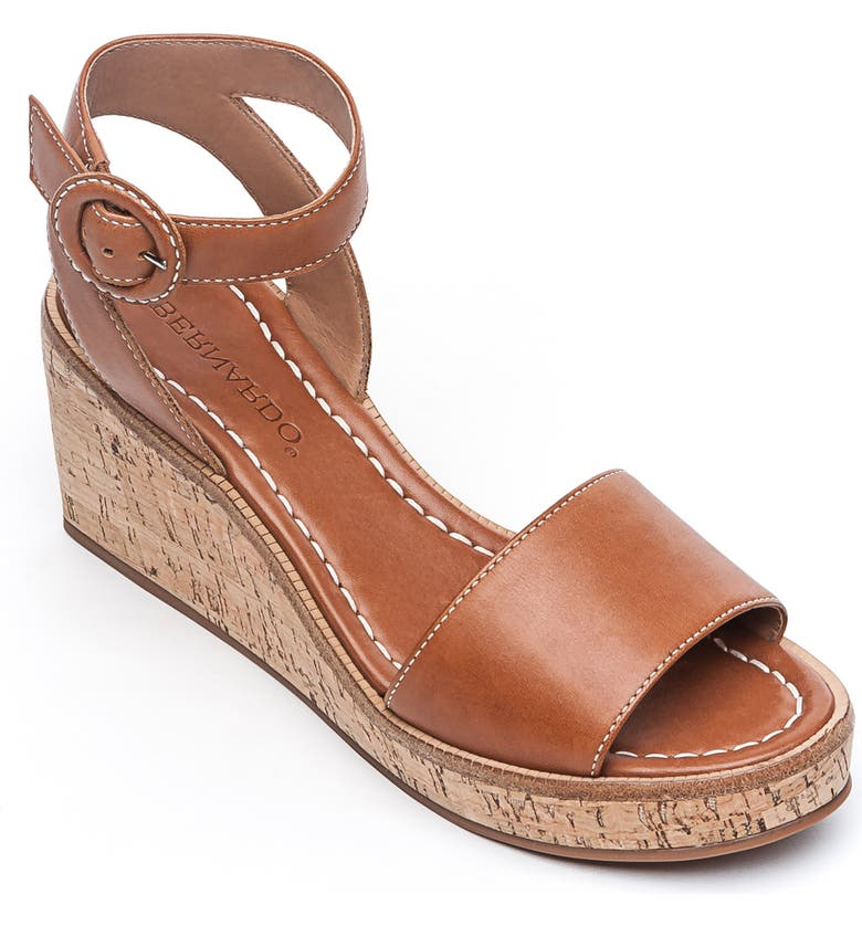 BERNARDO Footwear Kelly Wedge Sandal, Main, color, LUGGAGE ANTIQUE LEATHER