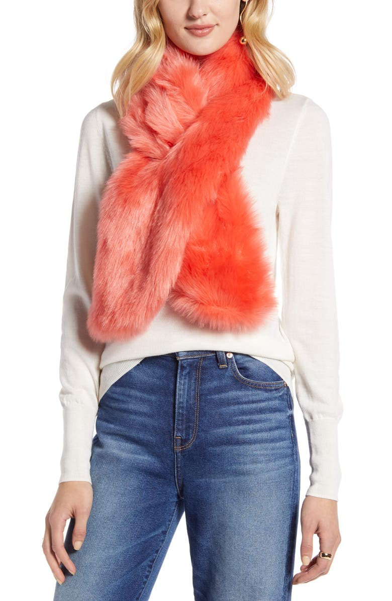 HALOGEN<SUP>®</SUP> Faux Fur Pull Through Scarf, Main, color, CORAL REEF