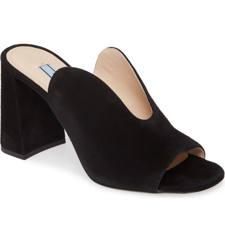 PRADA Slide Sandal, Main, color, BLACK SUEDE