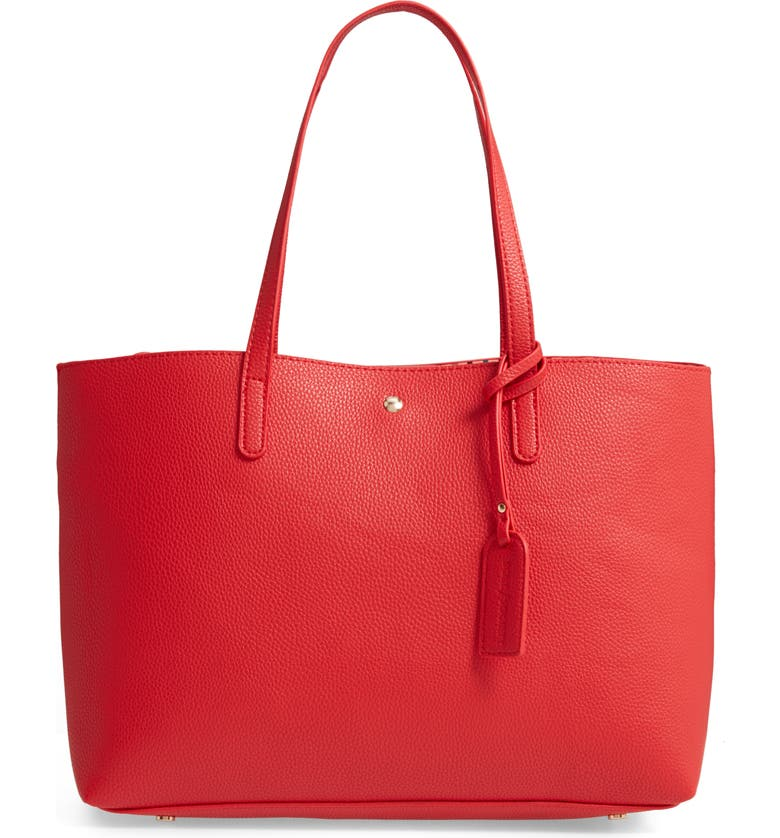 SOLE SOCIETY Zeda Faux Leather Tote, Main, color, POPPY RED